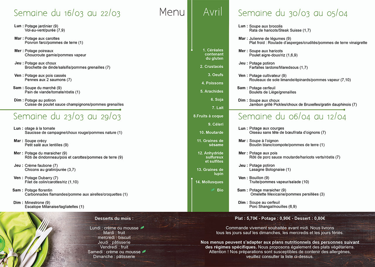 Menu avril Meal and Go repas à domicile