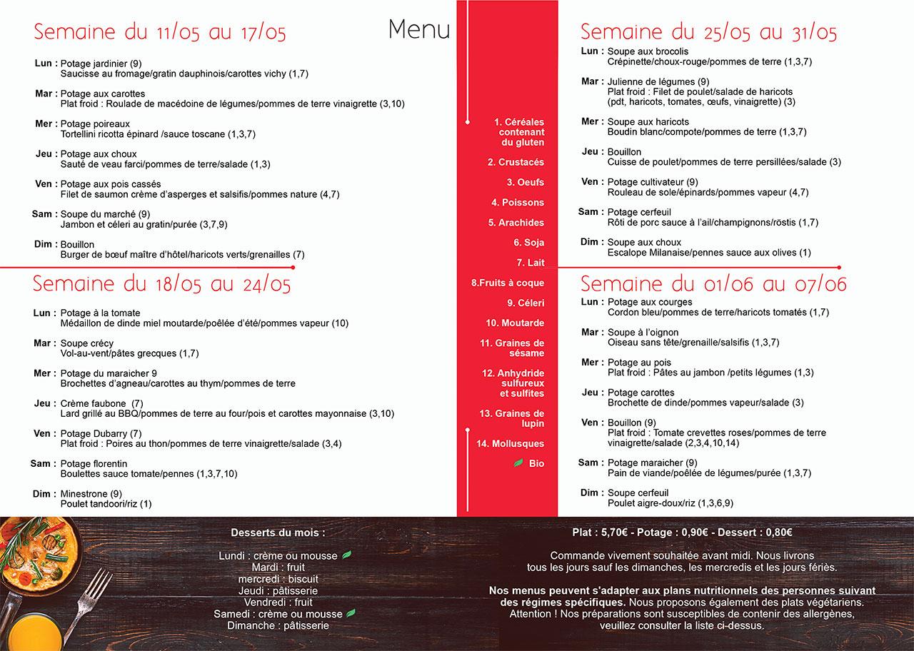Menu Meal and go repas à domicile Namur