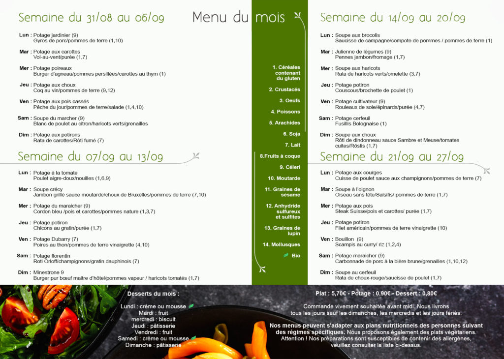 Menu Meal and Go
