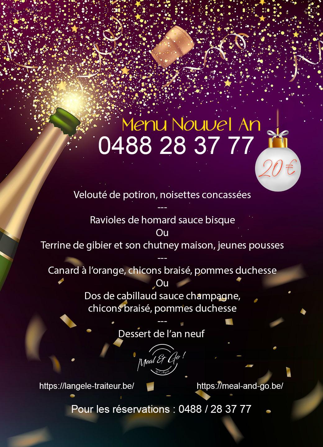 Menu de Nouvel-An Meal and go à Namur